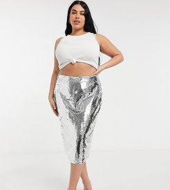 sequin midi skirt in silver