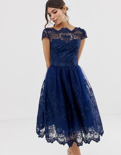 premium lace midi dress with cap sleeve in navy