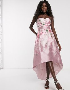 satin midi dress with extreme high low in ombre rose print-Pink