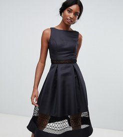 structured midi dress with lace inserts in black