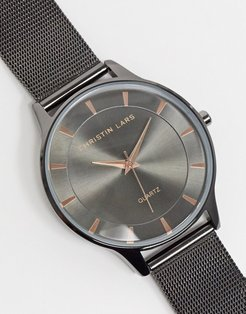 silver watch with black dial