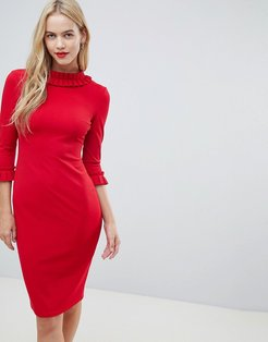 3/4 Sleeve Pencil Midi Dress With Pleated Detail-Red