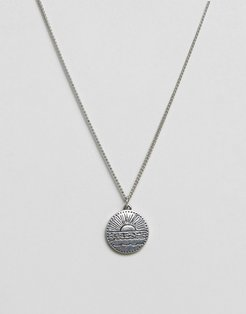 disc pendant necklace in antique silver