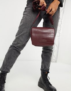 cross body bag with flap over in burgundy croc-Red