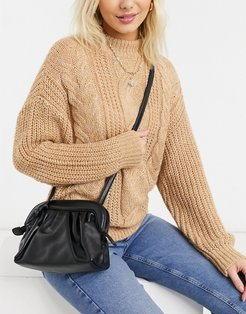 cross body ruched bag in black