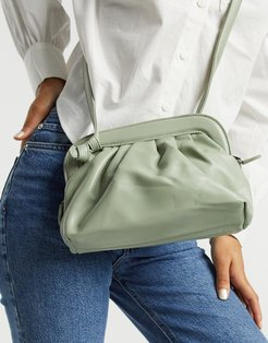 crossbody ruched bag in sage green