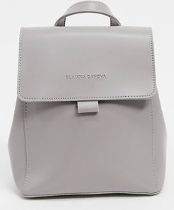 mini backpack with flapover in gray