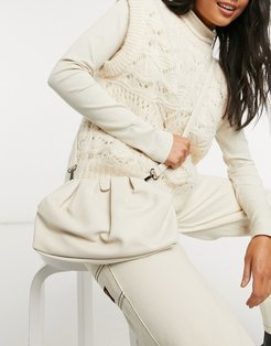 pillow clutch bag with cross body strap in off white
