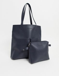 Unlined Two Pocket Tote Bag-Navy