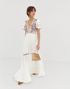 Daphne embroidered midi dress-White