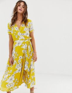 Myra floral wrap midi dress-Yellow