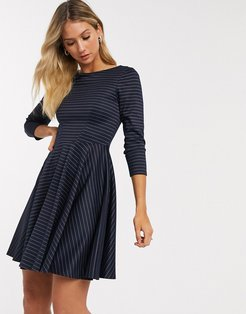 mini skater dress with 3/4 sleeve in navy