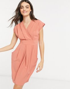 pleated wrap dress with pockets in taupe-Brown