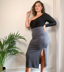 slinky maxi skirt in charcoal-Gray