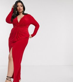 twist front maxi dress in red