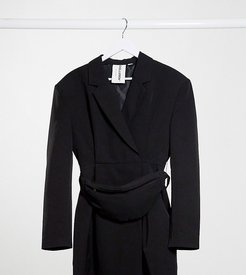 blazer dress with fanny pack-Black