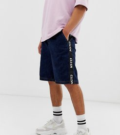 denim shorts with collusion taping-Blue