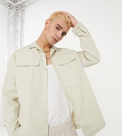 long sleeve utility shirt in stone