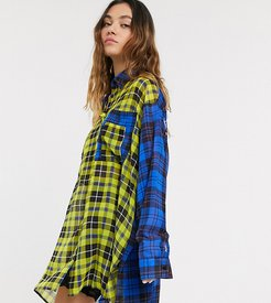 mixed check sheer shirt dress with typo-Multi