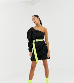one shoulder dress with neon belt-Black
