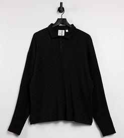 oversized long sleeve polo in knitted jersey fabric in black