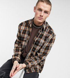 oversized shacket in brushed brown check-Blues
