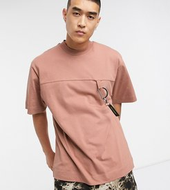 oversized t-shirt with rubber tab-Brown