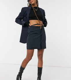 pinstripe skirt with waist detail-Navy