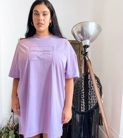 Plus Exclusive embossed mini t-shirt dress in lilac-Purple