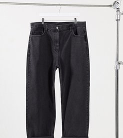Plus x014 90s baggy dad jeans in washed black