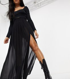 sheer pleated maxi skirt with slit in black