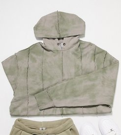 Unisex hoodie with exposed stitch detail and tie dye-Green