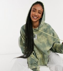 Unisex oversized hoodie with print in khaki tie dye-Green