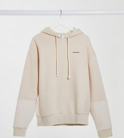 Unisex oversized hoodie with reverse fabric detail in ecru-White