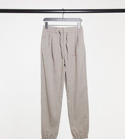 Unisex straight leg sweatpants in heritage check-Brown