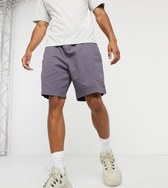 washed combat short in dark gray