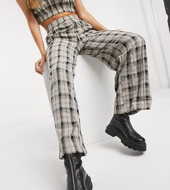 wide leg cargo pants in check co-ord-Green