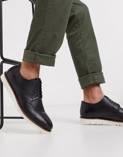 leather brogue shoe in black