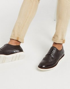 leather brogue shoe in brown