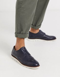 leather brogue shoe in navy