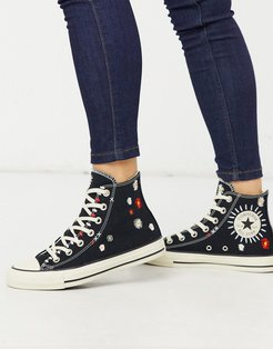 Chuck Taylor All Star Hi Black Embroidered Floral Sneakers