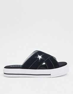 one star black and white sandals