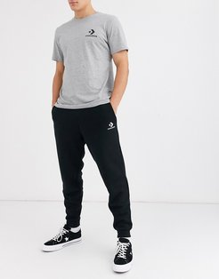small logo cuffed sweatpants in black