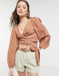 Cotton: On puff sleeve wrap blouse in peach floral-Black