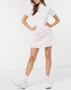 Cotton: On slip mini skirt in pink floral