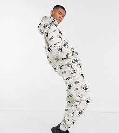 co-ord sweatpants with all over peace prInt-Gray