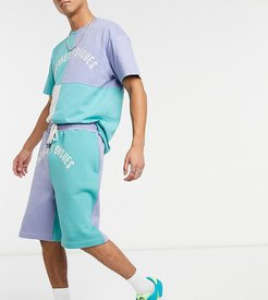 cut & sew shorts in pastel colors-Purple