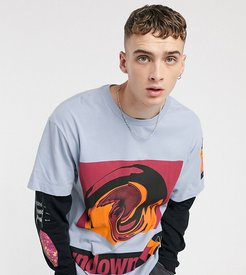 oversized cut and sew t-shirt-Blue