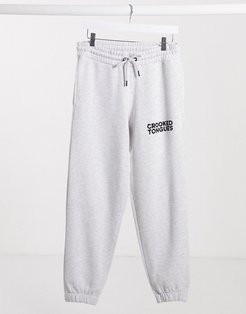 sweatpants with logo in gray marl