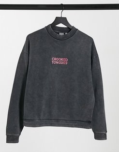 sweatshirt in washed black with chest logo